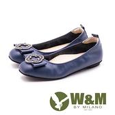 【南紡購物中心】W&M古典扣飾娃娃鞋 女鞋 - 藍(另有黑)