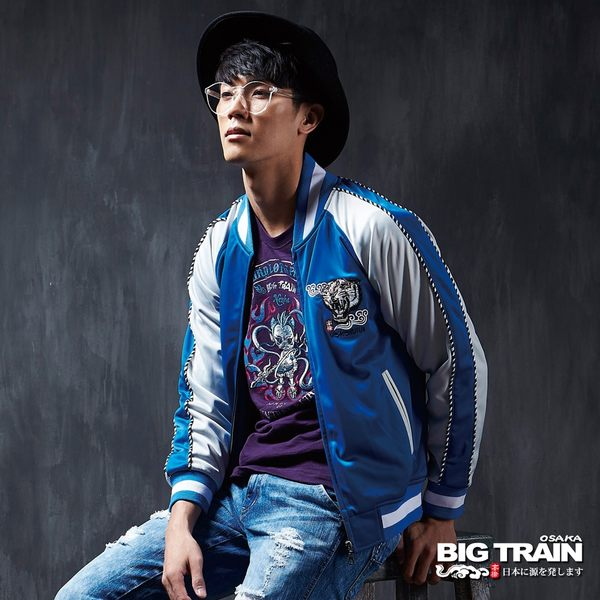 BIG TRAIN 橫須賀老虎外套 -男-寶藍色