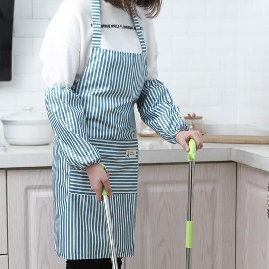 ✭米菈生活館✭【J146】防水圍裙袖套套裝 廚房 防塵 防污 帶袖套 防油污 條紋 料理 烘焙 口袋