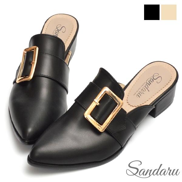 穆勒鞋 簡約金釦尖頭低跟拖鞋-黑