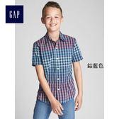 Gap男童 舒適府綢漸變色格紋襯衫 307765-鈷藍色