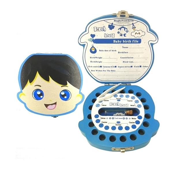 [9美國直購] 木製彩繪乳牙紀念盒 Baby Tooth Fairy Box Keepsake   Wooden Tooth Holder Gift Box 男/女兩款可選