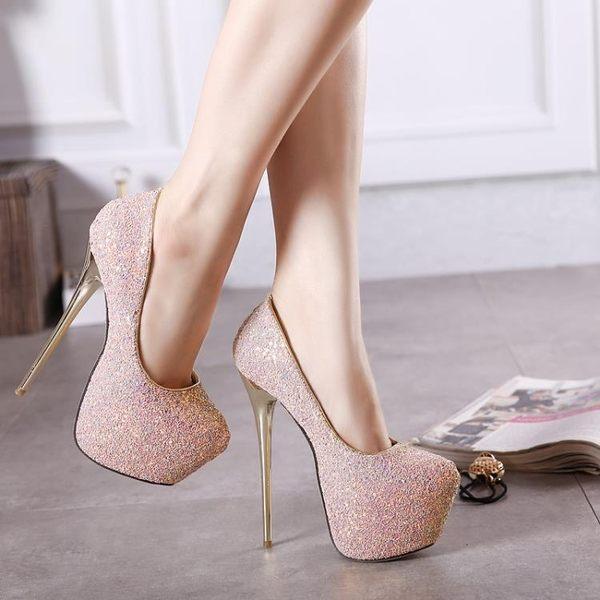高跟鞋-恨天高歐美性感細跟女涼鞋15cm超高跟鞋防水台模特走秀夜店演出鞋 東川崎町