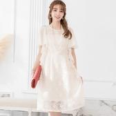 成熟雅致親膚蕾絲可綁式雪紡袖宴會及膝裙洋裝[88299-S]小三衣藏