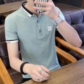 夏季潮流韓版襯衫領半袖POLO衫2018新款有帶領短袖T恤男翻領衣服