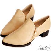 Ann'S復古風格-雙拉鍊素面牛津便鞋 米