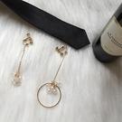 【NiNi Me】夾式耳環 氣質甜美幾何不對稱水晶長款夾式耳環 夾式耳環 E0044