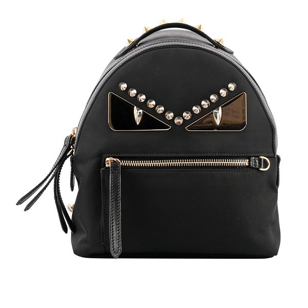 【FENDI】Bag Bugs 不鏽鋼眼睛鉚釘迷你後背包(黑色) FE15000005 8BZ038 A3KT F0KUR