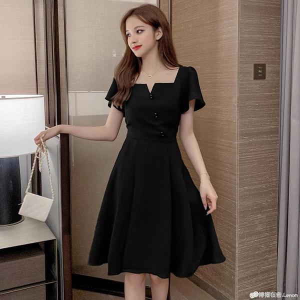 夏新款大碼方領赫本風洋裝女收腰顯瘦胖mm氣質洋氣A字裙潮