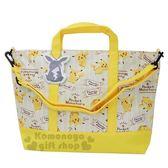 〔小禮堂〕神奇寶貝Pokémon 皮卡丘 帆布橫式手提袋側背袋《黃.條紋》肩背袋.購物袋 4548387-17882