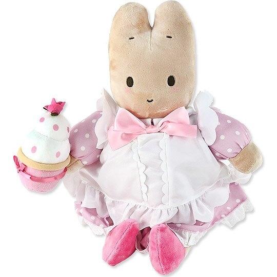 小禮堂 兔媽媽 絨毛玩偶 絨毛娃娃 布偶 (L 粉白洋裝) 4901610-05267