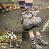 正韓堆堆襪子加長款中筒高筒潮復古日系秋冬款粗毛線個性條紋女襪