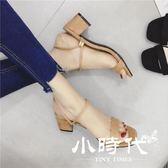 半拖鞋 方頭兩穿女鞋夏季一字帶高跟涼拖鞋絨面粗跟露趾涼鞋杏色學生鞋