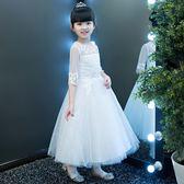 卡咪蛙公主裙女童蓬蓬紗長款白色花童禮服主持人鋼琴演出兒童婚紗 LI2820『時尚玩家』