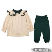 女童網紅套裝秋裝2021新款中大童女孩子學院風洋氣春秋休閒兩件套