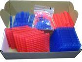 【台灣製USL遊思樂】十進位積木盒(雙色透明,145pcs) / 盒裝