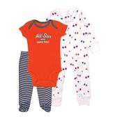Carter s卡特 拉鍊兔裝+短袖包屁衣+包腳長褲 三件組 紅棒球 | 新生兒套裝(初生嬰幼兒/寶寶/baby)