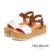 Tino Bellini義大利進口珍珠點點舒適厚底涼鞋_白 VI9064 歐洲進口