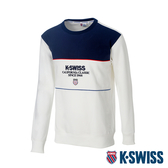 K-SWISS Colorblock Sweaters圓領長袖上衣-男-白