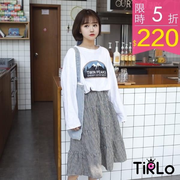 長裙-Tirlo-森林系甜美格子棉麻長裙-單一(現+追加預計5-7工作天出貨)