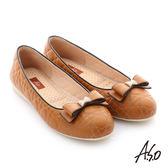A.S.O 彈力舒芙 綿羊皮蝴蝶結平底鞋 茶色