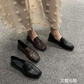 鞋子港風小皮鞋女英倫風2019新款百搭平底單鞋豆豆鞋『艾麗花園』