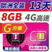 【TPHONE上網專家】 歐洲全區G方案 13天 8GB大流量高速上網 贈送通話