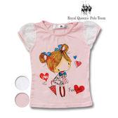 蕾絲袖可愛女孩圖案棉質T恤*2色 RQ POLO 小童春夏童裝[65504]