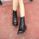 英倫風粗跟繫帶馬丁靴 軍靴 短靴【F03】