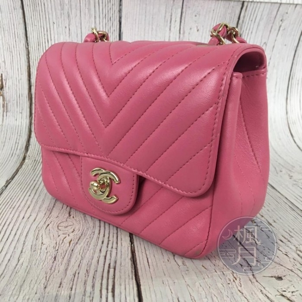 BRAND楓月 CHANEL 香奈兒 26開 粉紅色 亮粉紅 V形紋 方胖 COCO17 側背包
