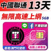 中國聯通 13日無限高速上網 FB/LINE直接用 不須翻牆 (香港/澳門也可以同時使用) 5GB