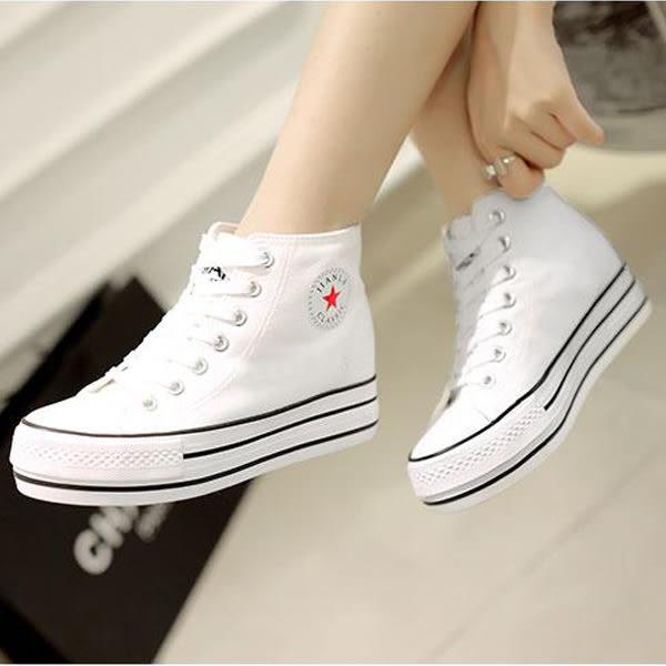 女鞋 帆布鞋女鞋學生韓版內增高休閒鞋