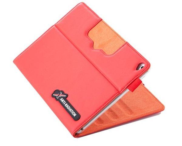 X iPAD mini 4 SLEEVE   防電磁波可立式潑水平板保護套 (皮紋蘋果紅)