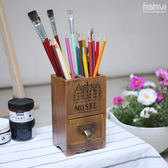 【中秋好康下殺】復古實木筆筒遙控器收納盒分格辦公桌面寢室整理盒子
