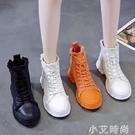 鞋子女2020年新款夏季小白鞋ins潮松糕厚底ulzzang百搭高幫帆布鞋【小艾新品】