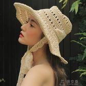 夏季遮陽草帽女蕾絲綁帶太陽帽防風沙灘帽折疊旅行拍照鏤空手工帽     俏女孩