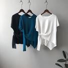 時尚不對稱設計短袖上衣T恤棉T韓版 【83-11-87959-21】ibella 艾貝拉