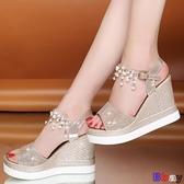 Bbay 楔型涼鞋 高跟 坡跟涼鞋 防水臺 鬆糕厚底 增高涼鞋