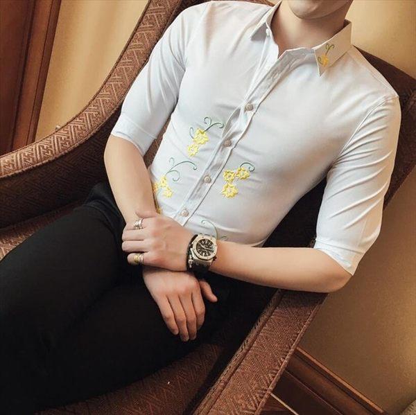 找到自己品牌 男 時尚 潮 特色衣領領 繡花 修身 中袖襯衫 七分袖襯衫