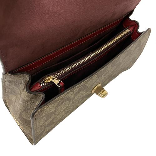 【COACH】C LOGO璇釦手提翻蓋斜背兩用小斜背包(紅)