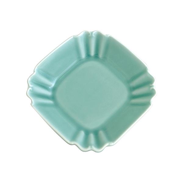 安達窯 青瓷 四方深盤