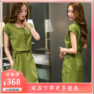 夏季中長版亞麻裙子短袖修身顯瘦復古棉麻洋裝 連身裙 女