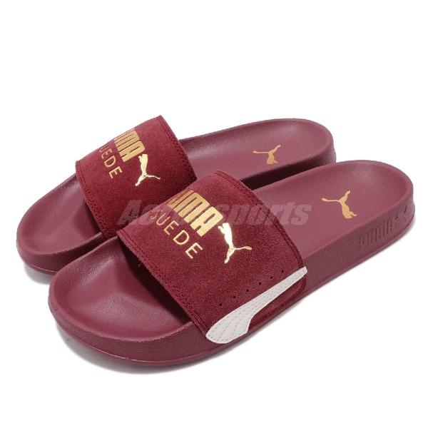 Puma 拖鞋 Leadcat FTR Suede Classic 紅 金 男鞋 女鞋 麂皮鞋面 涼拖鞋 【ACS】 37227705