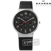 SKAGEN / SKW6096 / 北歐丹麥卓越品味三環視窗真皮手錶 黑色 36mm