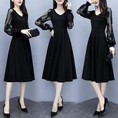 降價兩天 2020早春新款大碼女裝洋裝 200斤中長款蕾絲洋裝長袖連身裙胖mm顯瘦打底裙