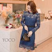 東京著衣【YOCO】優雅韓風滿版蕾絲雕花微透肌洋裝-S.M.L(172208)