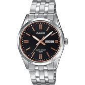 CASIO 卡西歐 城市日曆手錶-黑x銀 MTP-1335D-1A2V / MTP-1335D-1A2VDF