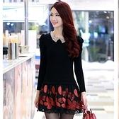 洋裝-蕾絲韓版毛衣針織泡泡袖修身長袖連身裙3色72f47[巴黎精品]