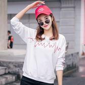長袖T恤  女韓版寬鬆秋裝上衣服潮打底衫圓領長T恤 『歐韓流行館17』