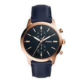 【Fossil】Townsman頂級質感時尚摩登錶-藍金款/FS5436/台灣總代理公司貨享兩年保固